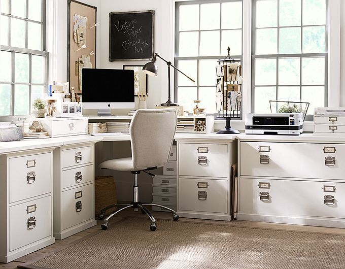 Pottery Barn Bedford  corner desk with lateral file