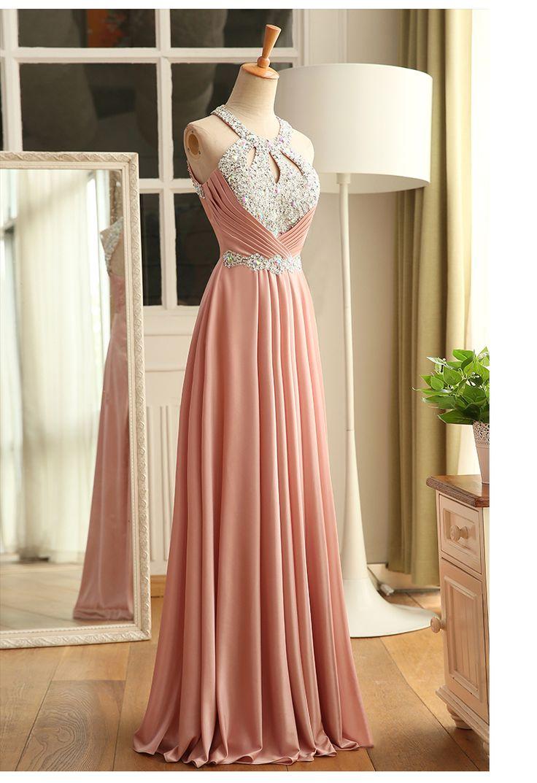 Halter neck beaded crystal Bridesmaid dress pleated long evening party dresses new arrival custom