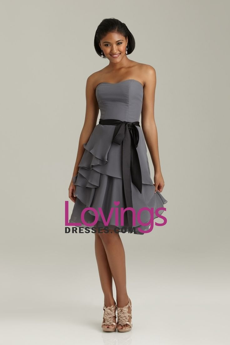 2013 Bridesmaid Dresses A Line Sweatheart Knee Length Chiffon With Sash US$ 99.99 LDP8BZSMC6 - lovingsdresses.com for mobile