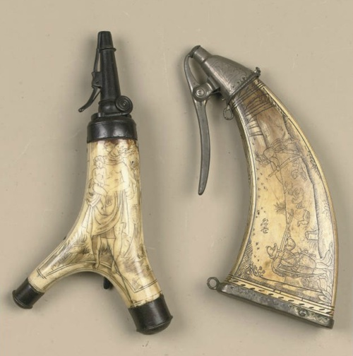 16th through early 17th cent., [German engraved stag and cow horn powder-flasks, respectively]