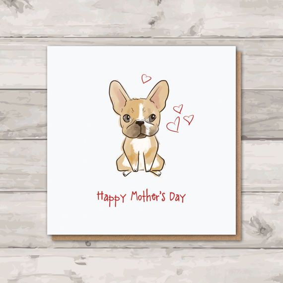 French Bulldog Mothers Day Card  Frenchie Card