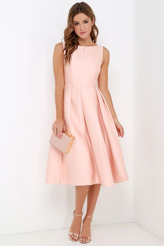 Elliatt Evergreen Blush Midi Dress | Pleated midi skirt ...