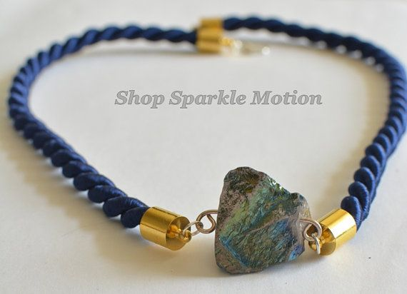 Navy Blue Rope Gold and Silver Plated Crystal Necklace by ShopSparkleMotion  https://www.etsy.com/uk/listing/188801938/navy-blue-rope-gold-and-silver-plated?ref=shop_home_active_1