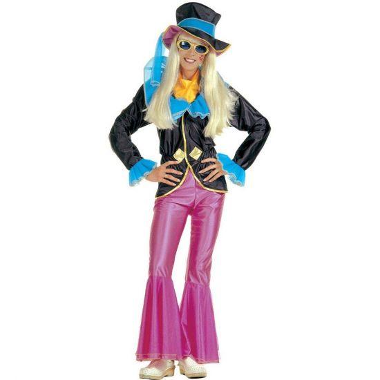 Jaren 60 outfit voor dames  Hippie outfit voor vrouwen. Deze hippie outfit voor vrouwen bevat een roze broek een zwart jasje met blauwe accenten en een zwarte hoed met blauw lint. Leuke vrolijke outfit om helemaal in het hippiegevoel te komen!  EUR 39.95  Meer informatie
