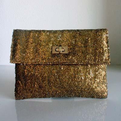 Princesse K   Antique Gold Sequinned Clutch