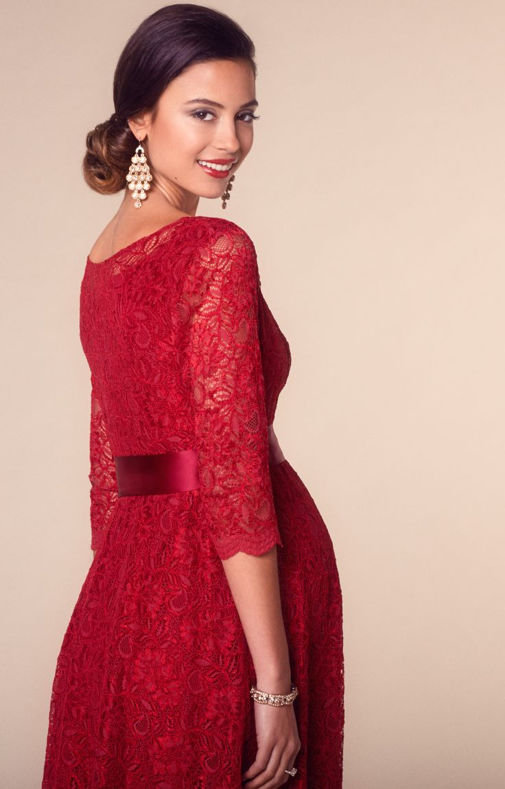 Our best-selling Freya lace maternity party dress in a fabulous new Scarlet colourway, just perfect for the festive season.