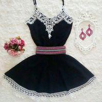 2015 preto Skater vestidos Embellished Floral guarnição Vestido de alcinhas Vestido curto Vestido de verão