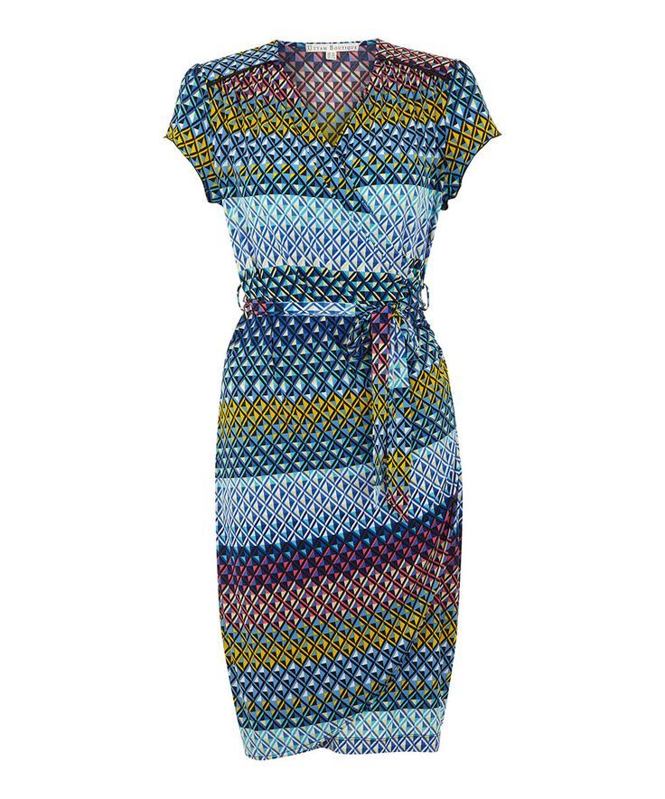 This blue geometric cap sleeve wrap dress by uttam boutique is perfect