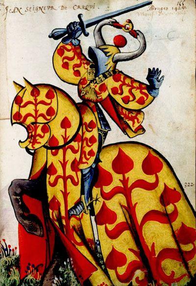 """Jean de Créquy.... Armorial équestre de la Toison d'Or, folio N° 155: """"d'or au créquier de gueules"""". - a punning blason"""