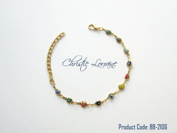 Multicolor Evil Eye Beads Gold Plated Bracelet by CHRISTIELORRAINE, $13.90