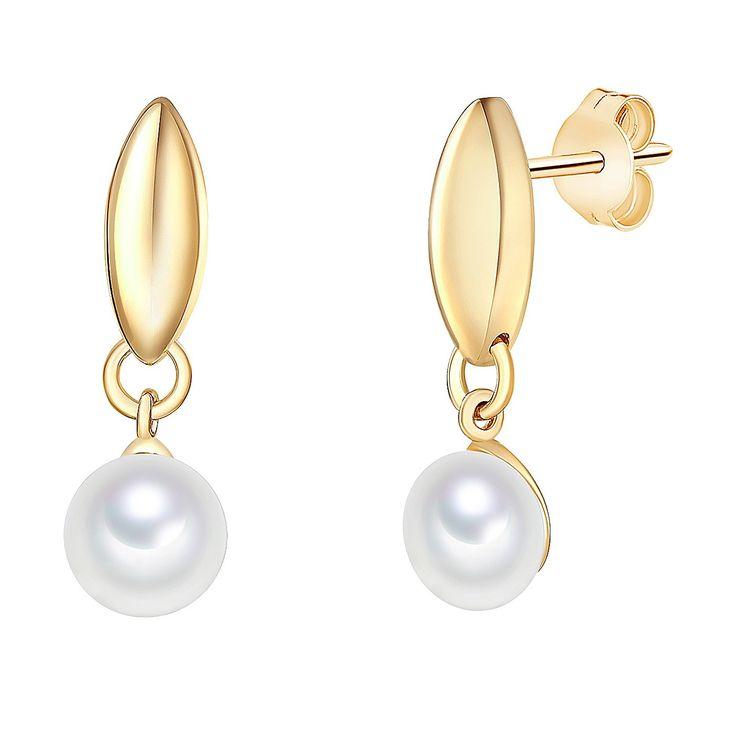 Cercei Valero Pearls argint placat cu aur galben bastonaș cu perlă de cultură albă rotundă