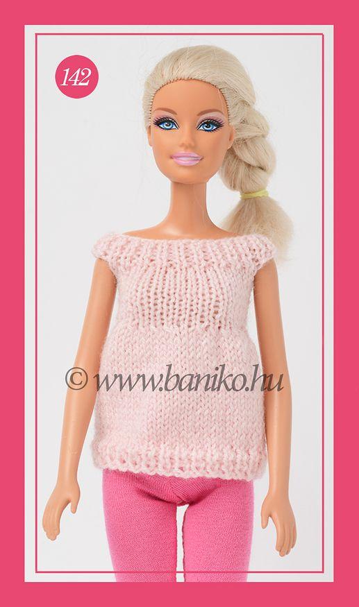 Rózsaszín, kötött Barbie tunika