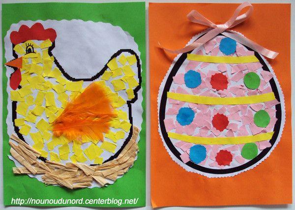 *Année 2010*Les filles ont réalisé des jolis dessins en mosaïques pourpâques.      Déchirer en petits morceaux des feuilles de couleur imprimer le gabarit du dessin encoller le et faites ...