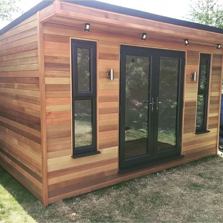 Horizontal cladded red cedar with french doors. Backyard Cabin, Garden Cabins, Backyard Office, Backyard Studio, Backyard Sheds, Garden Office, Garden Sheds, Shed Design, Tiny House Design