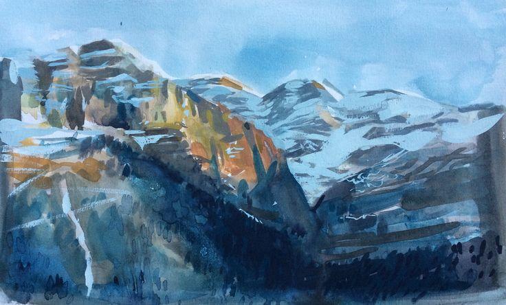 Plein air mountain painting - gouache watercolor