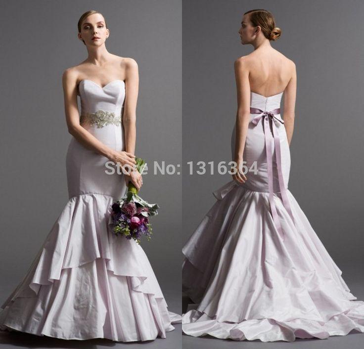 Элегантные длинные свадебные платья! Бесплатная доставка милая спинки платье новинка слоистые фиолетовый очаровательная русалка свадебные платья
