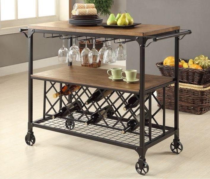 Industrial Serving Bar Cart Rolling Table Rustic Wine Rack