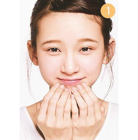 """Мышцы рта - ① с предметов ухода, полагаются на указательный палец, средний палец, безымянный палец на подбородок, слегка нажмите, медленно подсчитываются как «1, 2, 3""""."""