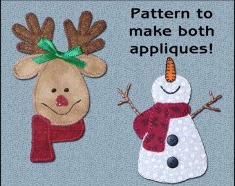 Happy Snowman & Reindeer Applique Templates - Snowman Applique Pattern - Reindeer Applique Template - Sewing Pattern, PDF Pattern, DIY