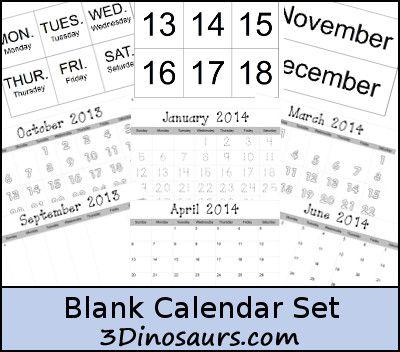 Free Blank Calendar Set and Pages Printables - 3Dinosaurs.com