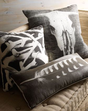 Hand-Screened Pillows at Horchow. Stag horns, cow skull and feather designs. #Holiday #Pillows #Horchow