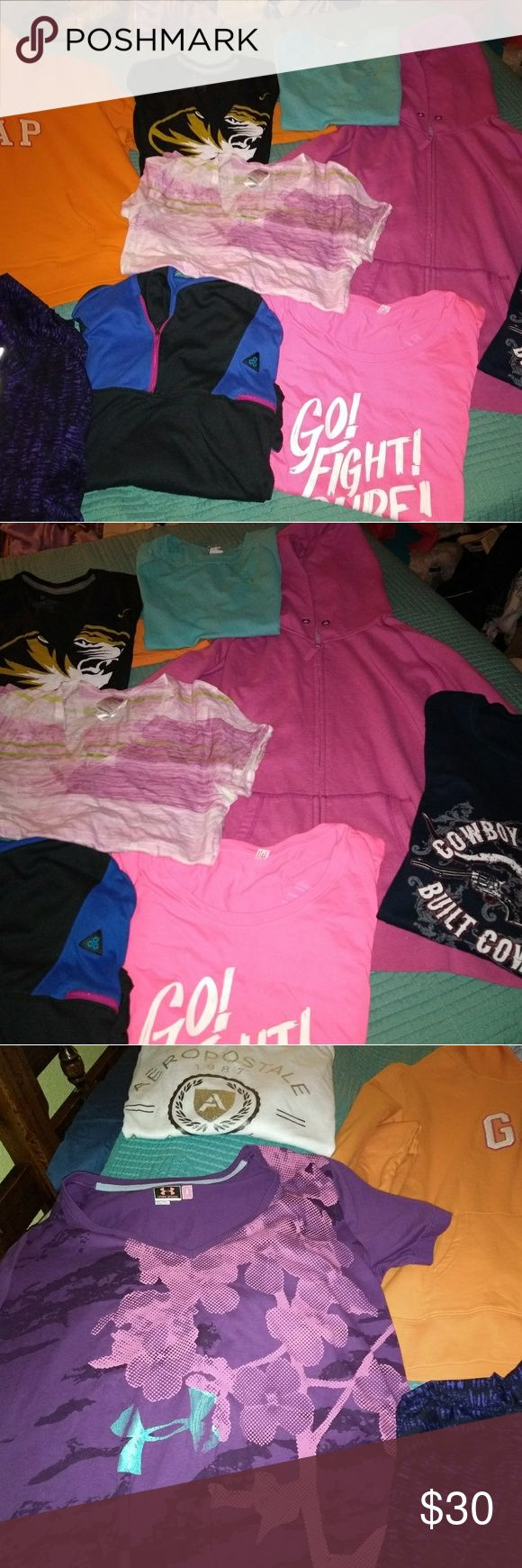 Deal!!! Bundle ladies shirts Nike, Under Armour, North Face, Cowgirl Tuff, Cowboy Hardware, Aeropostale, Gap All nice, smoke free, stain free, pet free All size large   Selling as bundle Nike Tops Sweatshirts & Hoodies