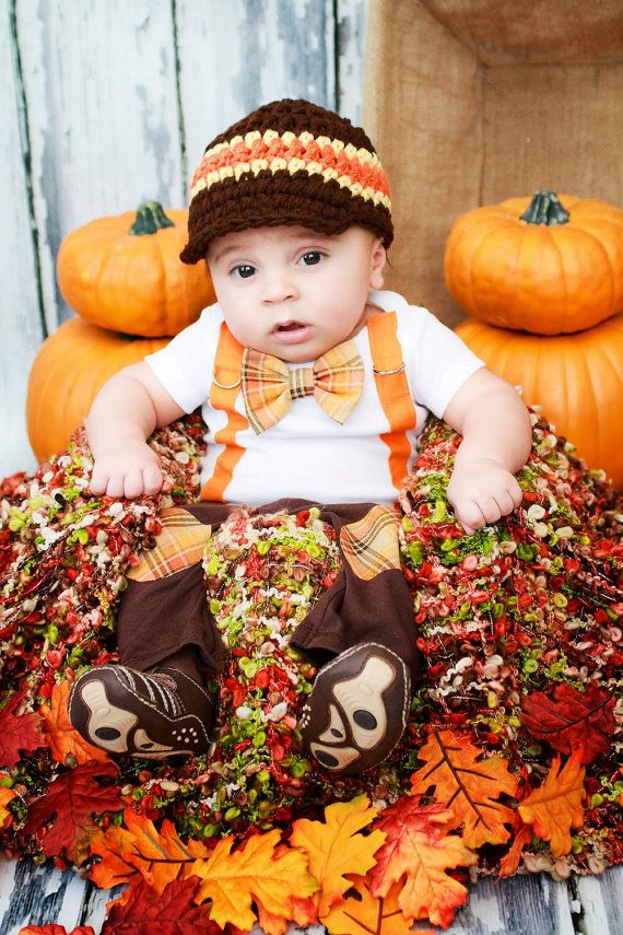 New Baby Boy Tie Bodysuit with Suspenders, Bowtie, and Matching Hat. Thanksgiving Fall Harvest Plaid.  Fall Photo Prop, Christmas Pictures on Etsy, $36.00