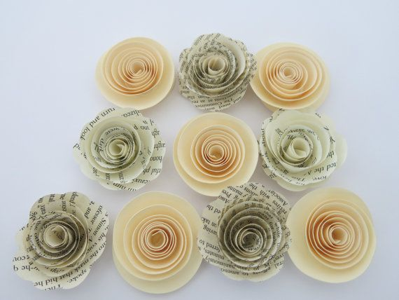 The 30 best small paper flowers set of 10 images on pinterest ivory and book page paper flowers 10 piece set by alwaysinblossom mightylinksfo