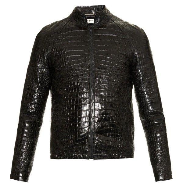 Saint Laurent Crocodile-effect leather bomber jacket ($2,394) ❤ liked on Polyvore featuring men's fashion, men's clothing, men's outerwear, men's jackets, black, mens leather flight jacket, mens crocodile jacket, mens leather jacket and mens leather bomber jacket