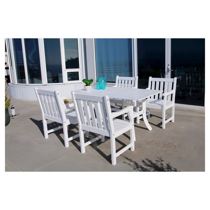 Bradley 5pc Rectangle Wood Patio Dining Set - White - Vifah