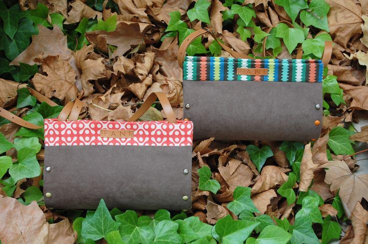 Bolsos NIGRA hechos en madera, antelina y lona