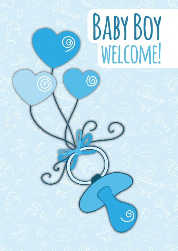 Baby Boy Welcome | Baby & Family | Send real postcards online | MyPostcard.com