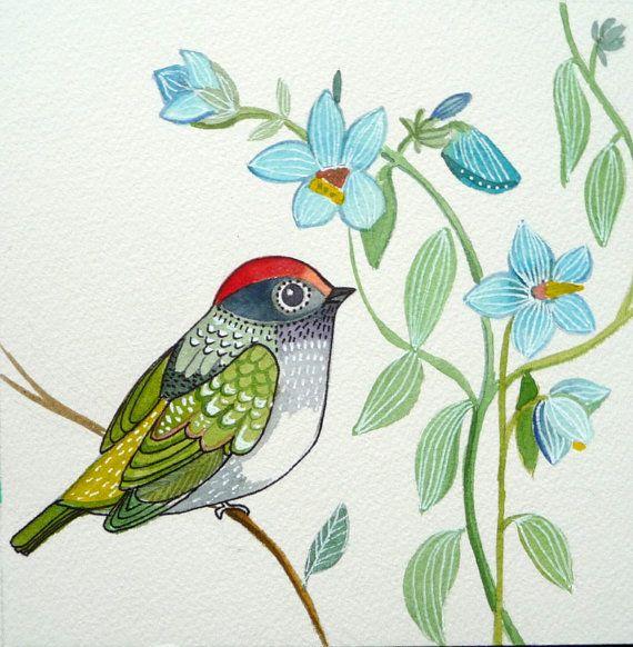 Summer / Nature / Flowers / Bird Art / Original Watercolor / Green / Blue / wall Art / Room Dcor /Nursery decor