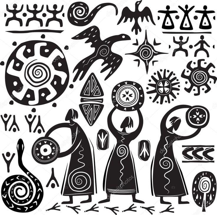Baixar - Elementos para a concepção de arte primitiva — Ilustração de Stock #6188803