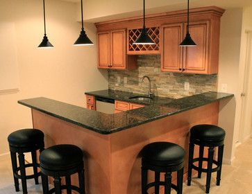 L shaped bars in basement | 267 L-shaped bar Rustic Basement Design Photos