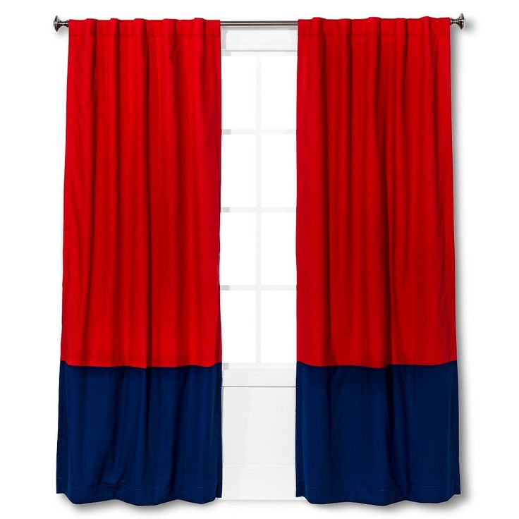 "Twill Light Blocking Curtain Panel Red/Navy Colorblock (42""x95"") - Pillowfort"