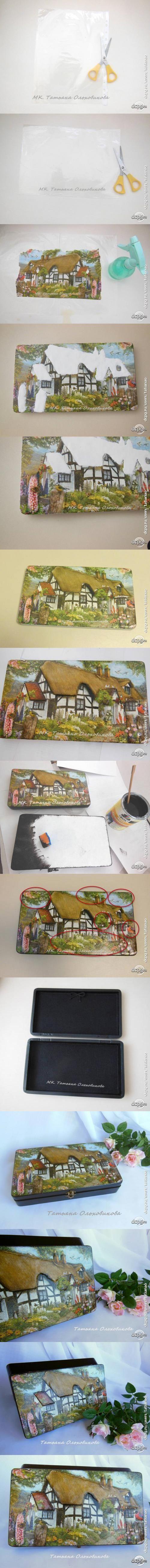"Декупаж - Сайт любителей декупажа - DCPG.RU | Шкатулка короб для документов ""Домик в Швейцарии"" и объемный декупаж. Click on photo to see more! Нажмите на фото чтобы увидеть больше! decoupage art craft handmade home decor DIY do it yourself tutorial Materials and techniques: napkin acrylic paint varnish etc."
