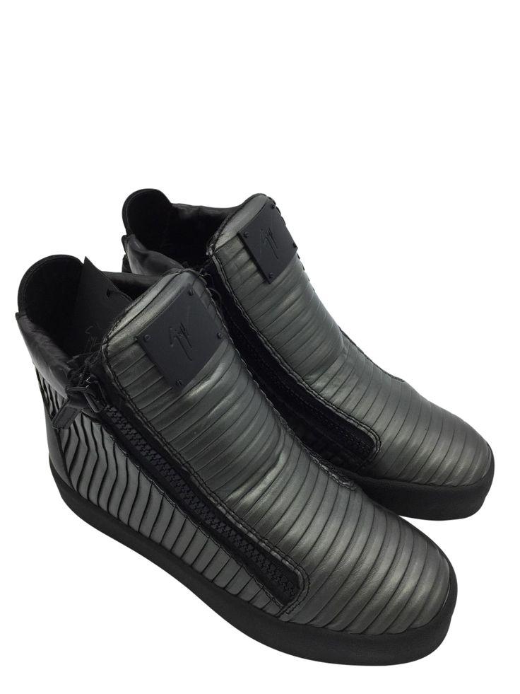 Giuseppe Zanotti Gunmetal Pleated High-Top Sneaker, Graphite Sz8us