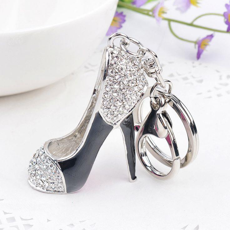 High heel shoes key chains rhinestone car key rings silver plated women bag charms keychains keyrings fashion crystal key holder
