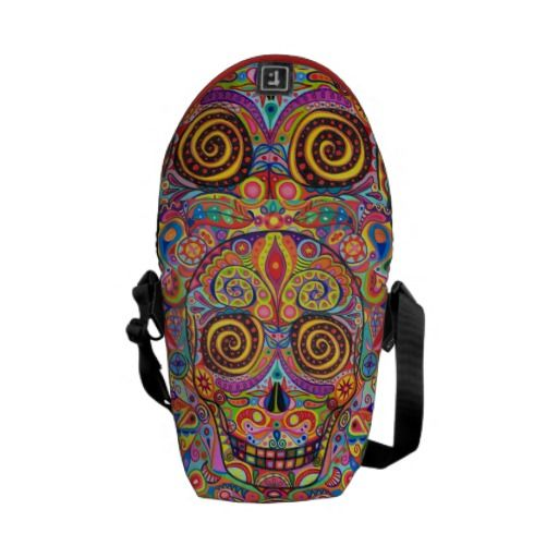 Colorful Sugar Skull Art Mini Messenger Bag