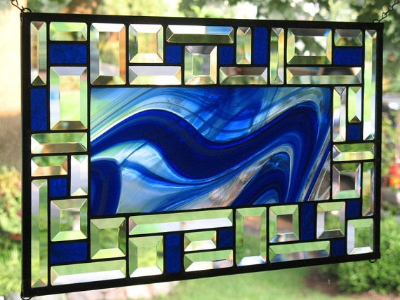 Fantastic Blues Stained Glass Window Panel
