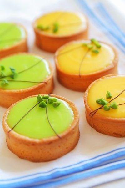 Mini lemon and lime tarts.