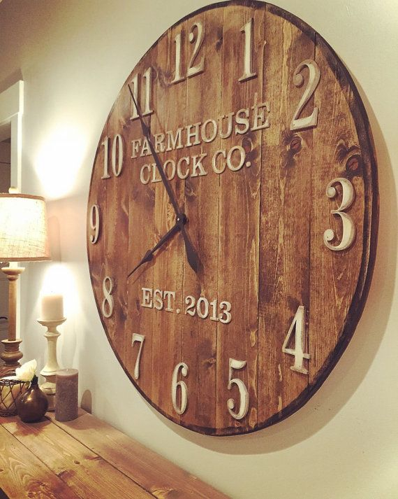 Farmhouse Clock Co Standard Numeral Wooden Wall Clock