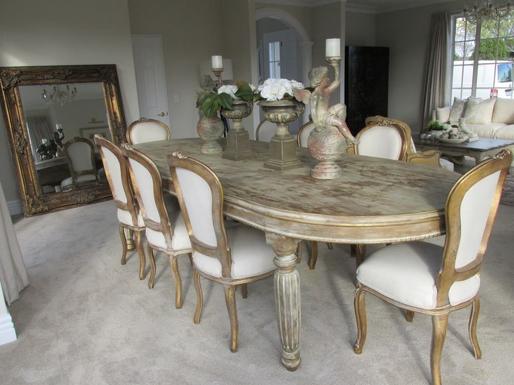 Elegant dining room staged by DMI Homestagers.