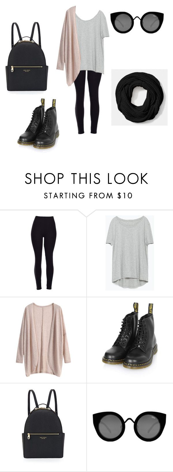 """""""How to wear Leggings #13."""" by beggars ❤ liked on Polyvore featuring Zara, Dr. Martens, Henri Bendel, Quay, Coach, women's clothing, women's fashion, women, female and woman"""