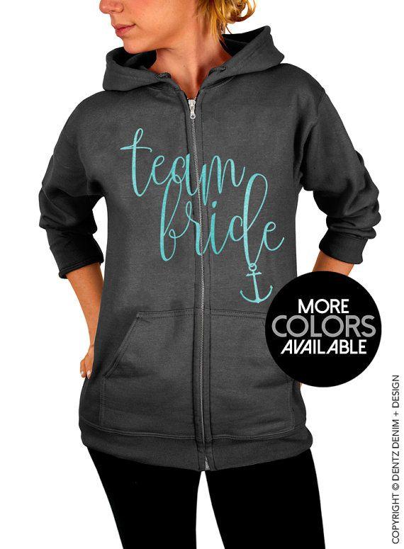 "Use coupon code ""pinterest"" Nautical Team Bride Zip Up Hoodie. Nautical Beach Wedding. Charcoal Gray Zip Up Hoodie Sweatshirt. White. Rose Gold. Seafoam Ink Option by DentzDesign"