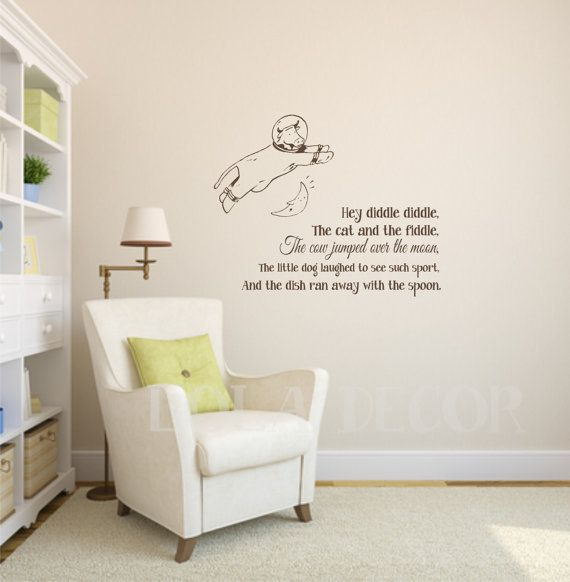 Cow Jumped Over Moon Hey Diddle Vinyl Wall Decal Nursery Rhyme Chilren S Room Decor Lola Fun Decals Etsy Pinterest