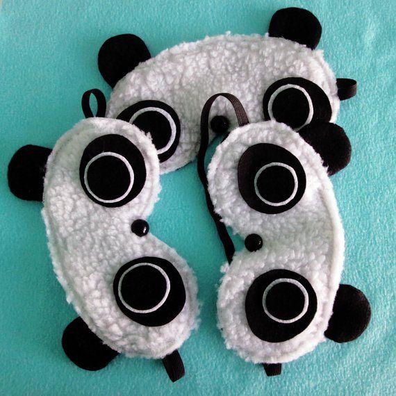 Handmade panda sleep mask.