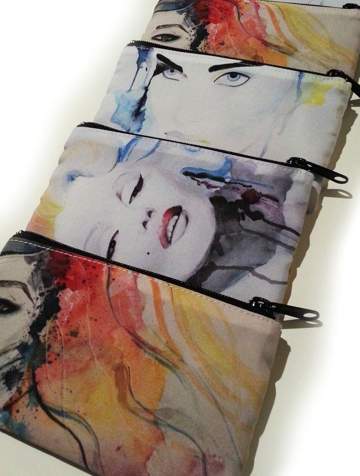 Cosmetic bags watercolor makeup bags