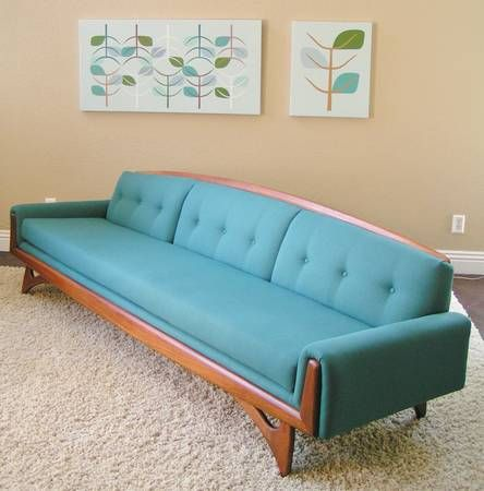 Blue Mid Century Modern Tweed Sofa